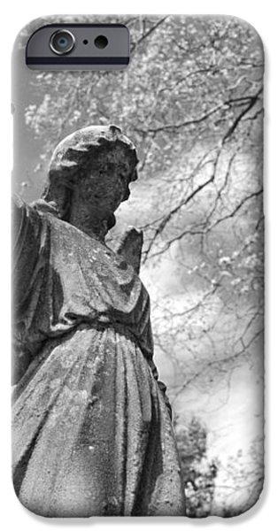 cemetery angel iPhone Case by Jennifer Lyon