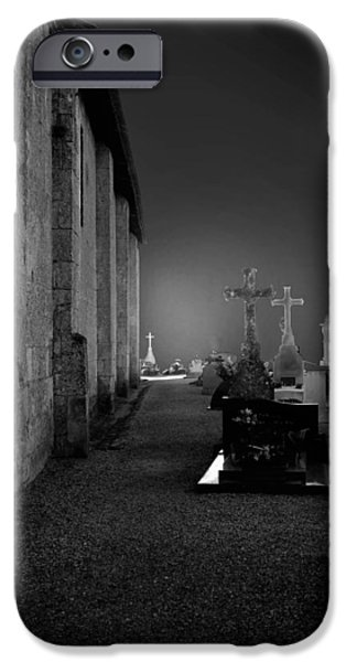 Headstones iPhone Cases - Cemetery at Night iPhone Case by Mountain Dreams