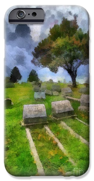 Headstones Digital Art iPhone Cases - Cemetery Clouds iPhone Case by Amy Cicconi