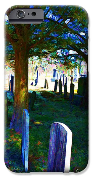 Cemetary iPhone Cases - Cemetery Color 2 iPhone Case by Robin Lewis