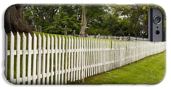 Headstones iPhone Cases - Cemetery Fence, Washington iPhone Case by Jim Corwin