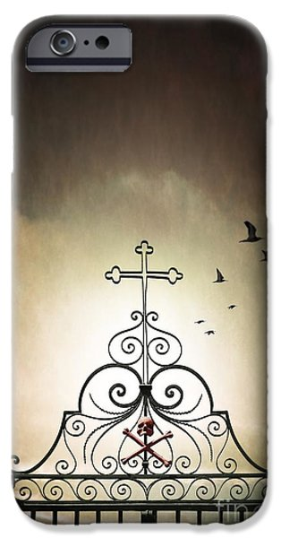 Haunted iPhone Cases - Cemetery Gate iPhone Case by Carlos Caetano
