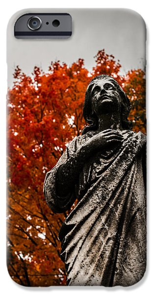 Headstones iPhone Cases - Cemetery in Fall iPhone Case by Sonja Quintero