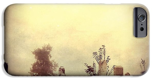 Headstones iPhone Cases - Cemetery In The Fog iPhone Case by Dan Sproul