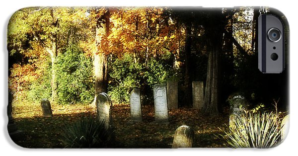 Headstones iPhone Cases - Cemetery in the Morning iPhone Case by Cynthia Lassiter