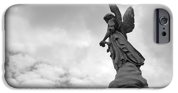Seraphim Angel iPhone Cases - Cemetery Watcher iPhone Case by Jennifer Lyon