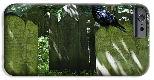 Cemetary iPhone Cases - Cemetery with Ancient Gravestones and Black Crow  iPhone Case by Nomad Art And  Design
