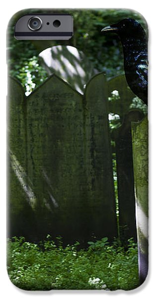 Cemetery with Ancient Gravestones and Black Crow  iPhone Case by Nomad Art And  Design