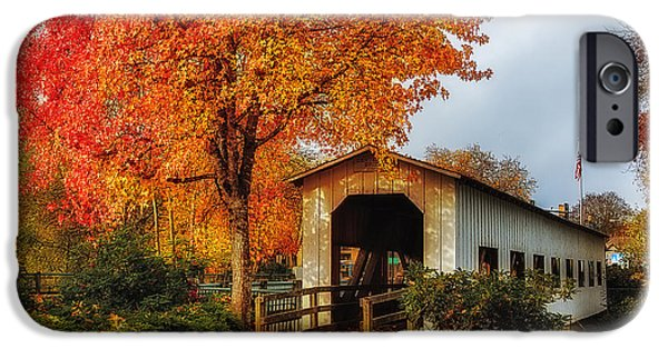 Covered Bridge iPhone Cases - Centennial Covered Bridge iPhone Case by James Heckt