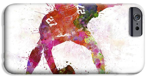 American Football Paintings iPhone Cases - Center American Football Player Man iPhone Case by Pablo Romero
