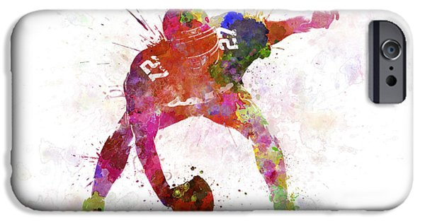 Cut-outs Paintings iPhone Cases - Center American Football Player Man iPhone Case by Pablo Romero