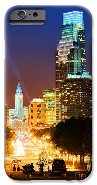 Franklin iPhone Cases - Center City Philadelphia Night iPhone Case by Olivier Le Queinec