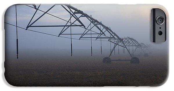 Fog Mist iPhone Cases - Center-Pivot Irrigation iPhone Case by Mike  Dawson