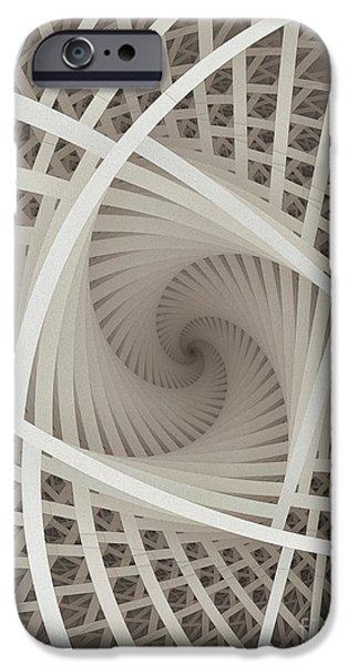Three Sizes iPhone Cases - Centered White Spiral-Fractal Art iPhone Case by Karin Kuhlmann