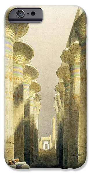 Ancient Paintings iPhone Cases - Central Avenue of the Great Hall of Columns iPhone Case by David Roberts