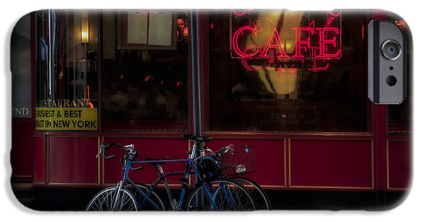 42nd Street iPhone Cases - Central Cafe Bicycles iPhone Case by Susan Candelario