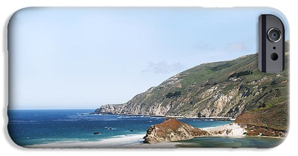 Famous Highway 1 In California iPhone Cases - Central Coast Beach Near Cambria and San Simeon iPhone Case by Artist and Photographer Laura Wrede