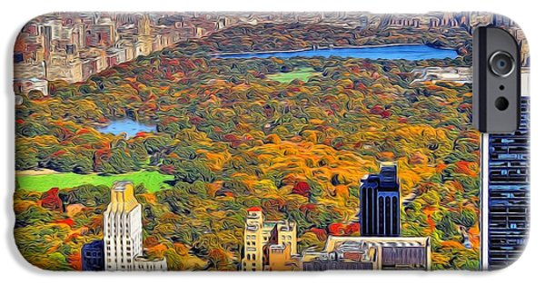 Skylines Mixed Media iPhone Cases - Central Park And Manhattan In Autumn iPhone Case by Dan Sproul