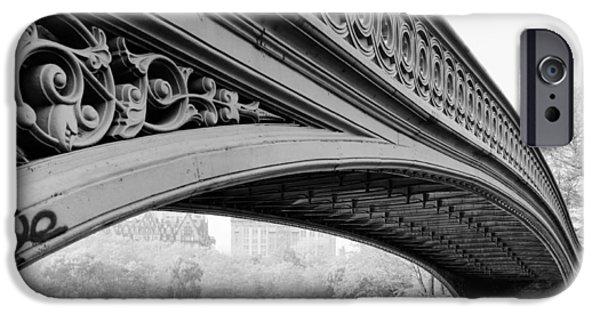 Bow Bridge iPhone Cases - Central Park Bow Bridge iPhone Case by Digital Reproductions