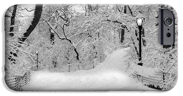 Wintertime iPhone Cases - Central Park Dressed Up In White iPhone Case by Susan Candelario