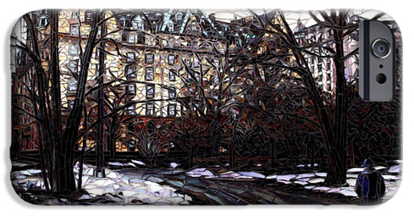 Cities Glass Art iPhone Cases - Central Park in the Snow iPhone Case by Sandra Bryant