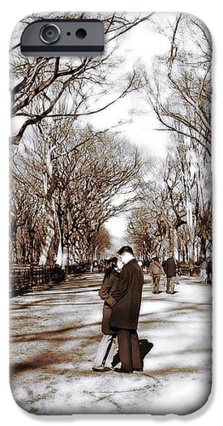 Central Park Kiss iPhone Case by John Rizzuto