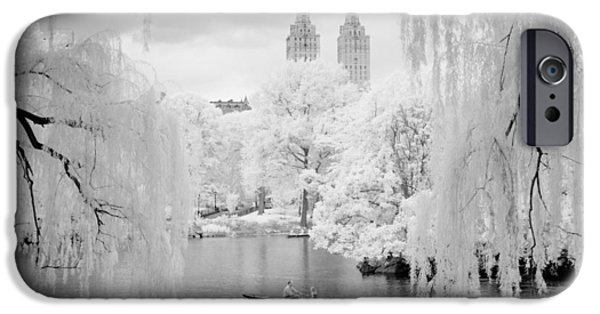 Recently Sold -  - Willow Lake iPhone Cases - Central Park Lake-Infrared Willows iPhone Case by Dave Beckerman