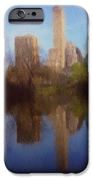 Expressionism Digital Art iPhone Cases - Central Park New York iPhone Case by Stefan Kuhn