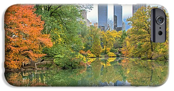 Warner Park iPhone Cases - Central Park Pond in Autumn iPhone Case by Regina Geoghan