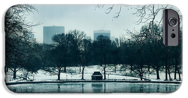 Wintry Mixed Media iPhone Cases - Central Park iPhone Case by Rafael  Pacheco