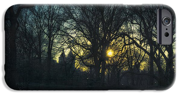 Wintertime Mixed Media iPhone Cases - Central Park vintage sunset iPhone Case by Marianne Campolongo