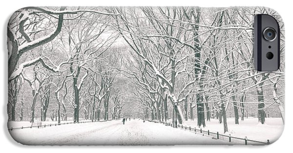 Winter Trees Photographs iPhone Cases - Central Park Winter - Poets Walk in the Snow - New York City iPhone Case by Vivienne Gucwa