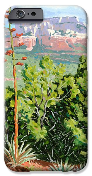 Sedona Paintings iPhone Cases - Century Plant - Sedona iPhone Case by Steve Simon