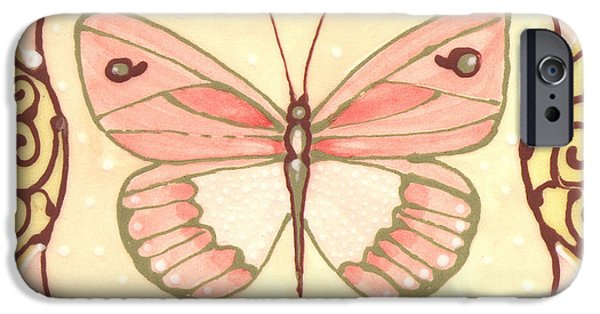 Insects Ceramics iPhone Cases - Ceramic Butterfly 2 iPhone Case by Anna Skaradzinska