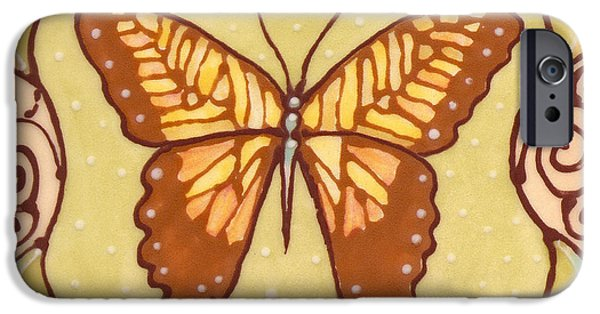 Insects Ceramics iPhone Cases - Ceramic Butterfly iPhone Case by Anna Skaradzinska