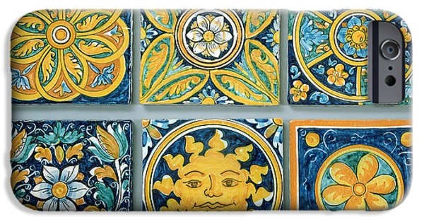 Pottery iPhone Cases - Ceramic Tiles In The Typical Caltagirone Style Ceramic iPhone Case by Italian School