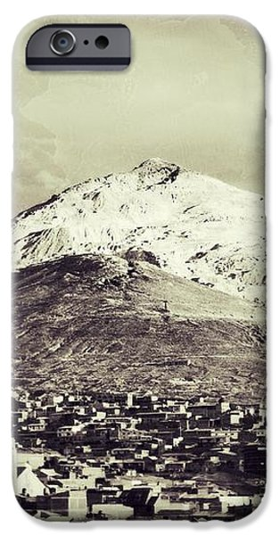 Cerro Rico Potosi Black And White Vintage iPhone Case by For Ninety One Days