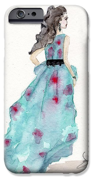 Dress iPhone Cases - Cerulean Blue Fashion Sketch Dress iPhone Case by Janelle Nichol