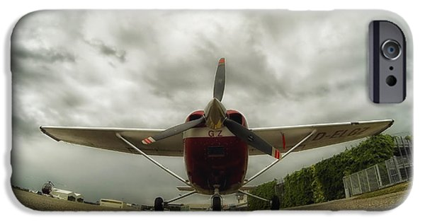 Ground Level iPhone Cases - Cessna in Fisheye iPhone Case by Mountain Dreams