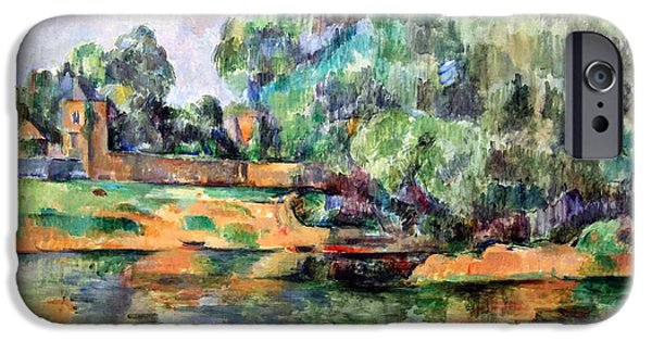 Cora Wandel iPhone Cases - Cezannes Riverbank iPhone Case by Cora Wandel