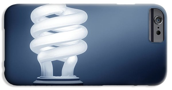 Bulb iPhone Cases - CFL Blue iPhone Case by Olivier Le Queinec