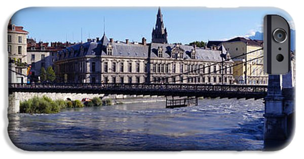 Rhone Alpes iPhone Cases - Chain Bridge Over A River, Grenoble iPhone Case by Panoramic Images