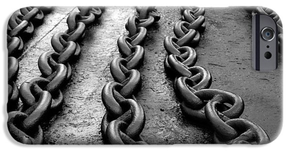 Chain-ring iPhone Cases - Chain links iPhone Case by Sinisa Botas