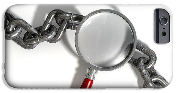 Mystifying iPhone Cases - Chain Missing Link Magnifying Glass iPhone Case by Allan Swart