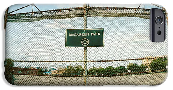 Board iPhone Cases - Chainlink Fence In A Public Park iPhone Case by Panoramic Images