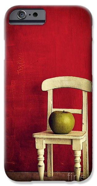 Chair Apple Red Still Life iPhone Case by Edward Fielding