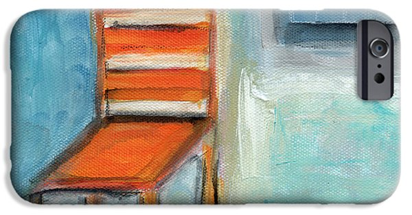 Abstract Expressionist iPhone Cases - Chair By The Window- Painting iPhone Case by Linda Woods