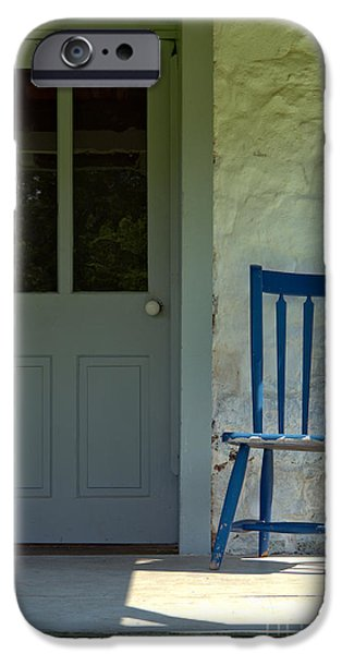 Porch iPhone Cases - Chair on Farmhouse Porch iPhone Case by Olivier Le Queinec