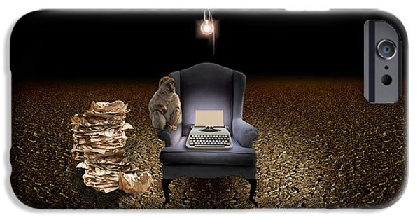 Technology iPhone Cases - Chair With A Monkey And Typewriter iPhone Case by Panoramic Images