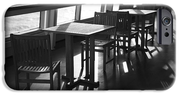 Upper Deck iPhone Cases - Chairs and Tables iPhone Case by Anne Gilbert